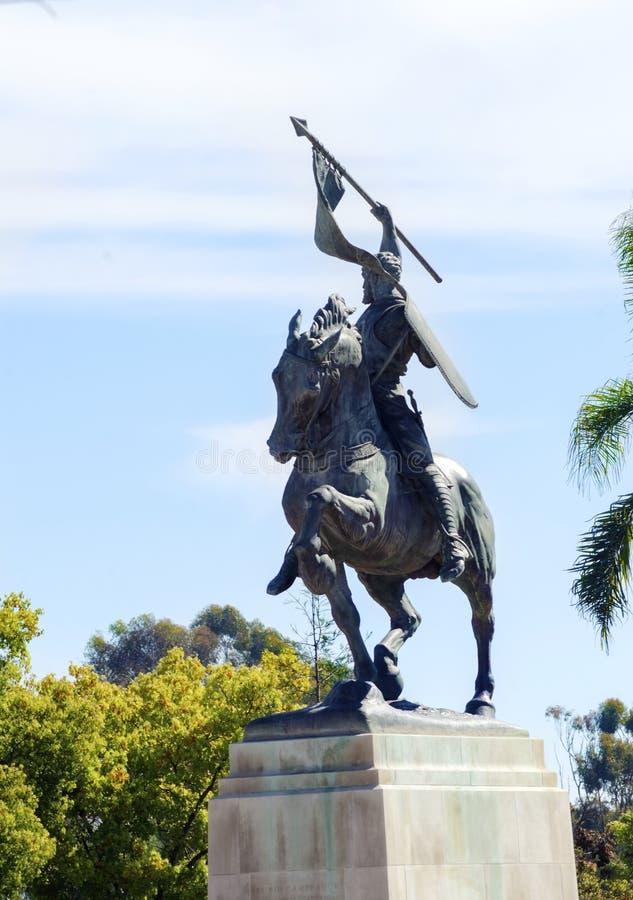 Estátua de El Cid a cavalo, parque do balboa foto de stock