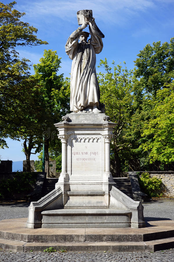 Estátua de G Farel foto de stock