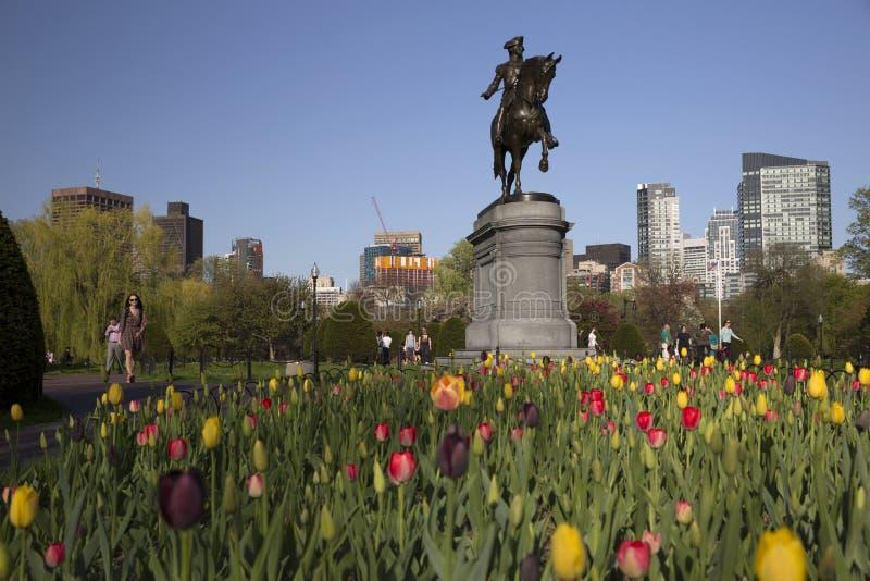 Estátua de George Washington no jardim público de Boston imagens de stock royalty free