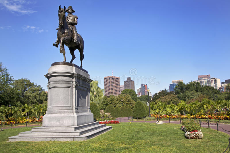 Estátua de George Washington no parque comum de Boston, EUA fotos de stock royalty free