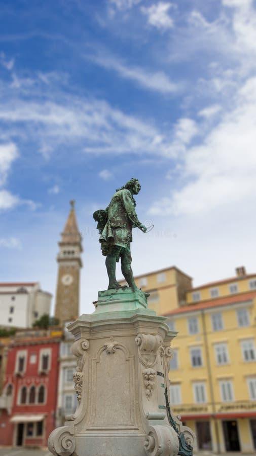 Estátua de Giuseppe Tartini no quadrado de Tartini, Piran foto de stock royalty free