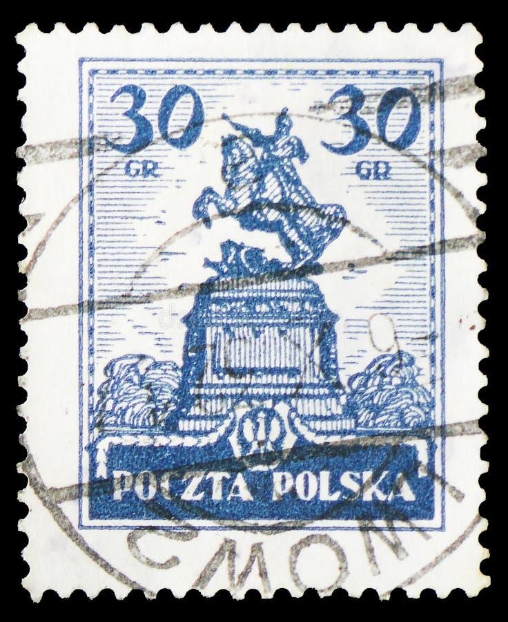 Estátua de janeiro III Sobieski, Lwow, serie das construções históricas, cerca de 1925 imagem de stock