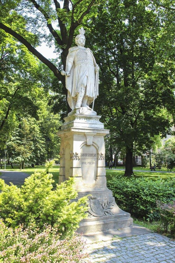 Estátua de janeiro III Sobieski, rei polonês famoso Krakow, Poland fotografia de stock royalty free