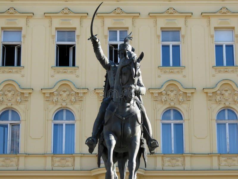 Estátua de Josip Jelacic em Zagreb fotos de stock royalty free