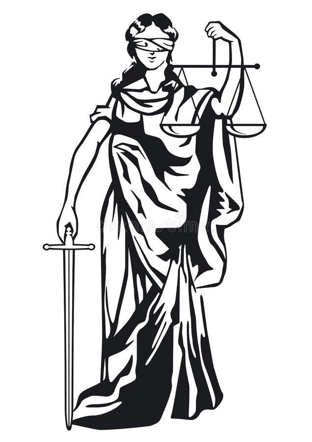 Estátua de justiça ilustração do vetor