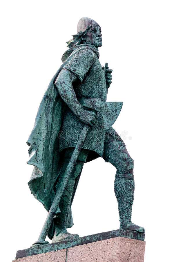 Estátua de Leif Eriksson em Reykjavik, Islândia fotografia de stock