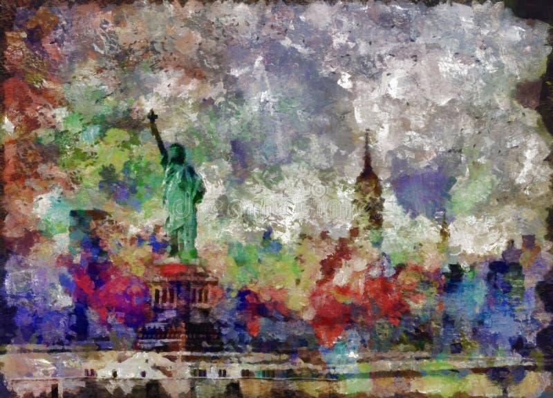 Estátua de liberdade & de por do sol de New York City ilustração do vetor