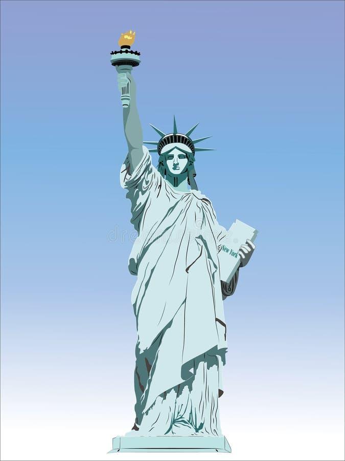 Estátua de liberdade & de por do sol de New York City Marco de New York Símbolo americano Si do vetor ilustração do vetor