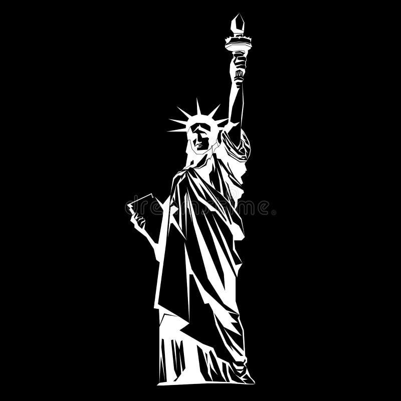 Estátua de liberdade & de por do sol de New York City Marco de New York Símbolo americano Si do vetor ilustração stock