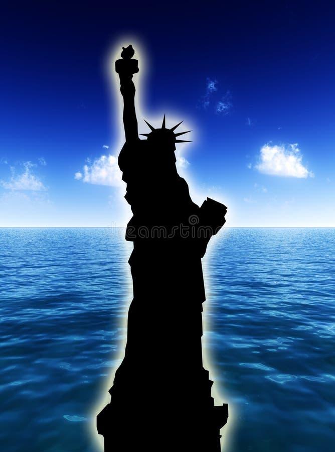 Estátua de liberdade no dia ilustração do vetor