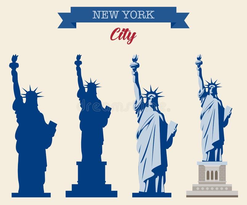 Estátua de liberdade & de por do sol de New York City Marco do mundo Símbolo americano New York City Vetor ilustração stock