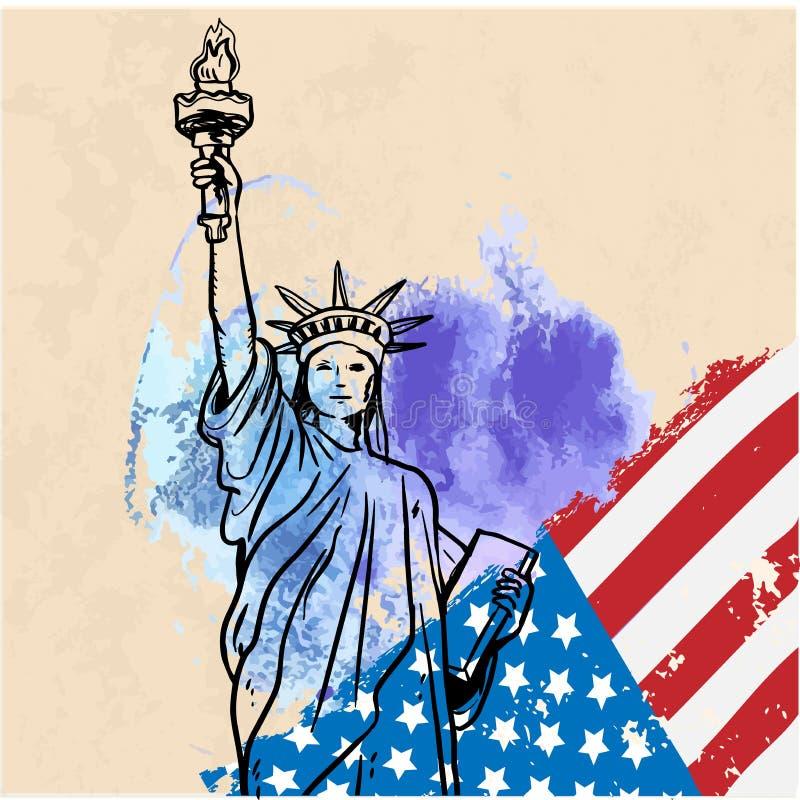 Estátua de liberdade & de por do sol de New York City Marco de New York Símbolo americano Silhueta do vetor ilustração do vetor