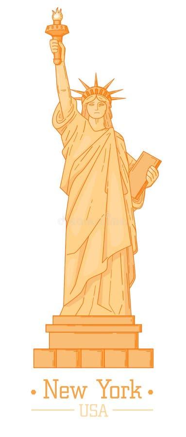 Estátua de Liberty Cartoon com o marco liso do estilo do projeto da tocha ilustração do vetor