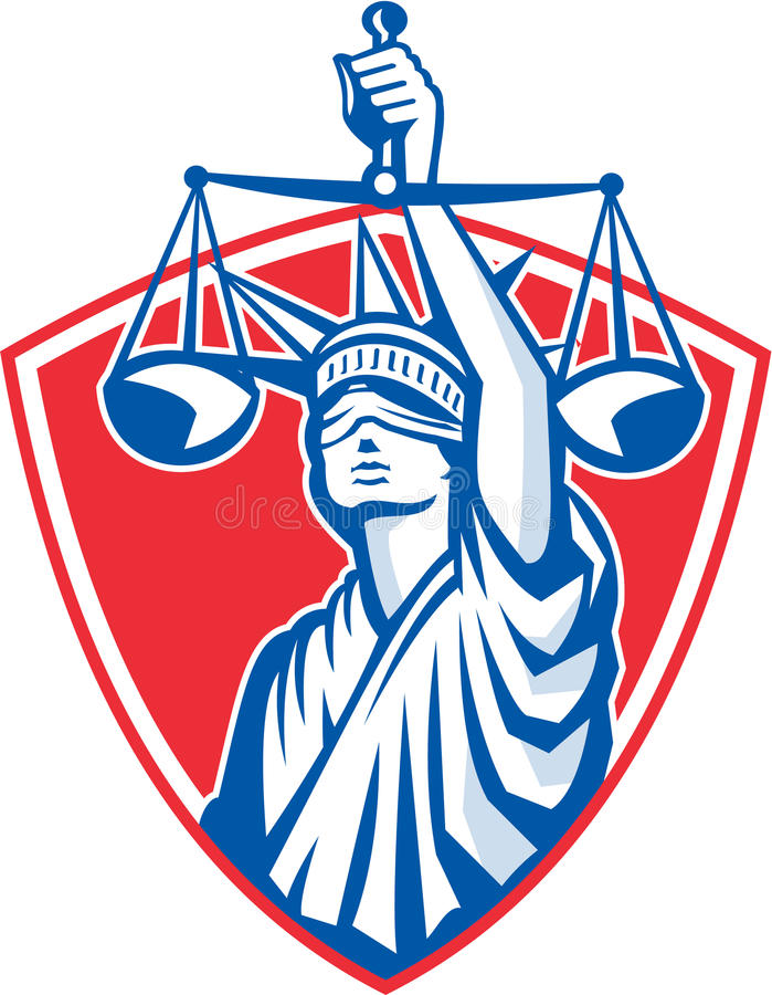 Estátua de Liberty Raising Justice Weighing Scales retro ilustração royalty free