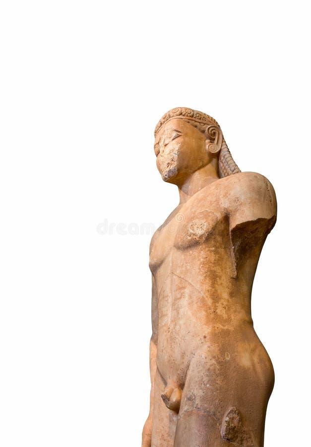 Estátua de mármore do grego clássico de um Kouros fotografia de stock royalty free