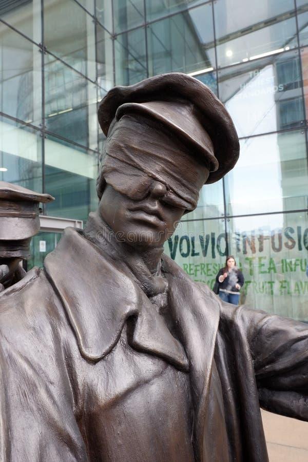 Estátua de Manchester do detalhe cego dos veteranos imagens de stock royalty free