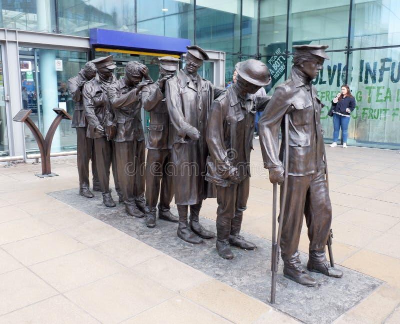 Estátua de Manchester de veteranos cegos imagens de stock