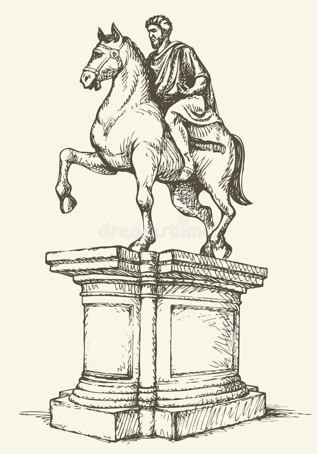 Estátua de Marcus Aurelius Desenho do vetor ilustração do vetor