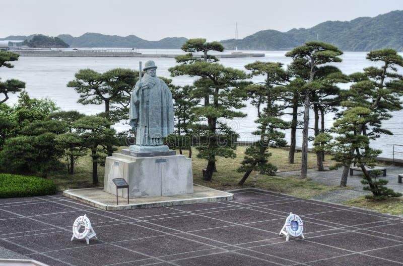 Estátua de Mikimoto Kokichi, ilha da pérola, Japão imagem de stock