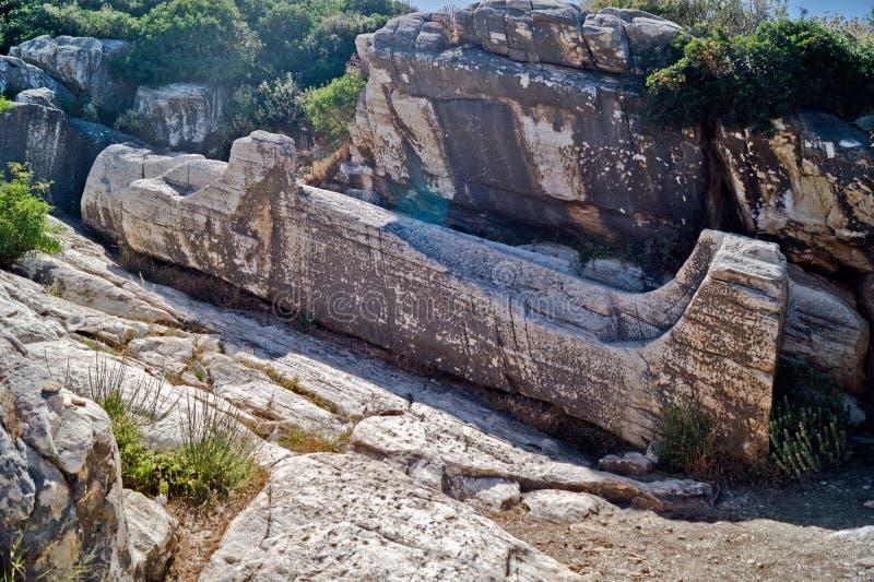 Estátua de Naxos Melanes Kouros, Grécia (6 m por muito tempo, século VII fotos de stock
