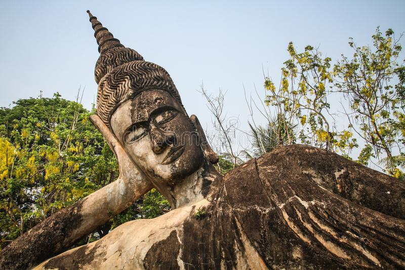 Estátua de pedra da Buda, parque da Buda, Vientiane, Laos fotografia de stock