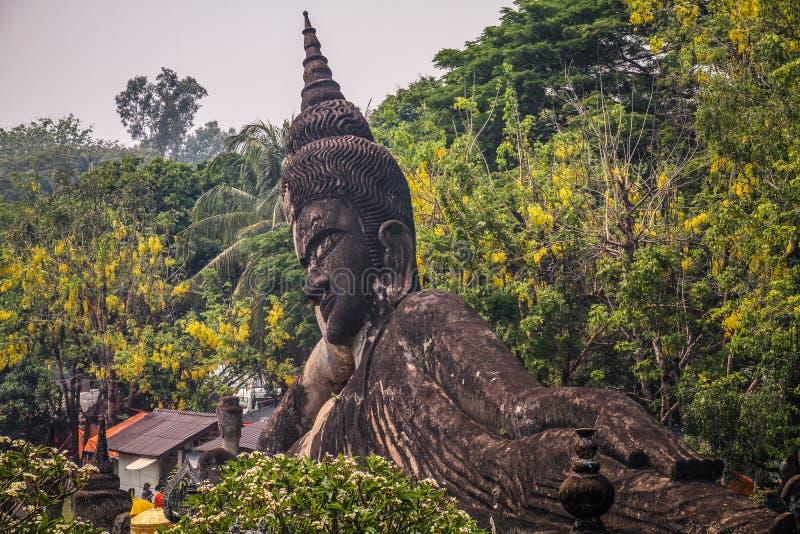 Estátua de pedra da Buda, parque da Buda, Vientiane, Laos fotografia de stock royalty free