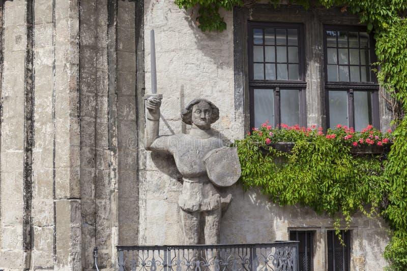 Estátua de Roland em Quedlinburg, Alemanha fotos de stock