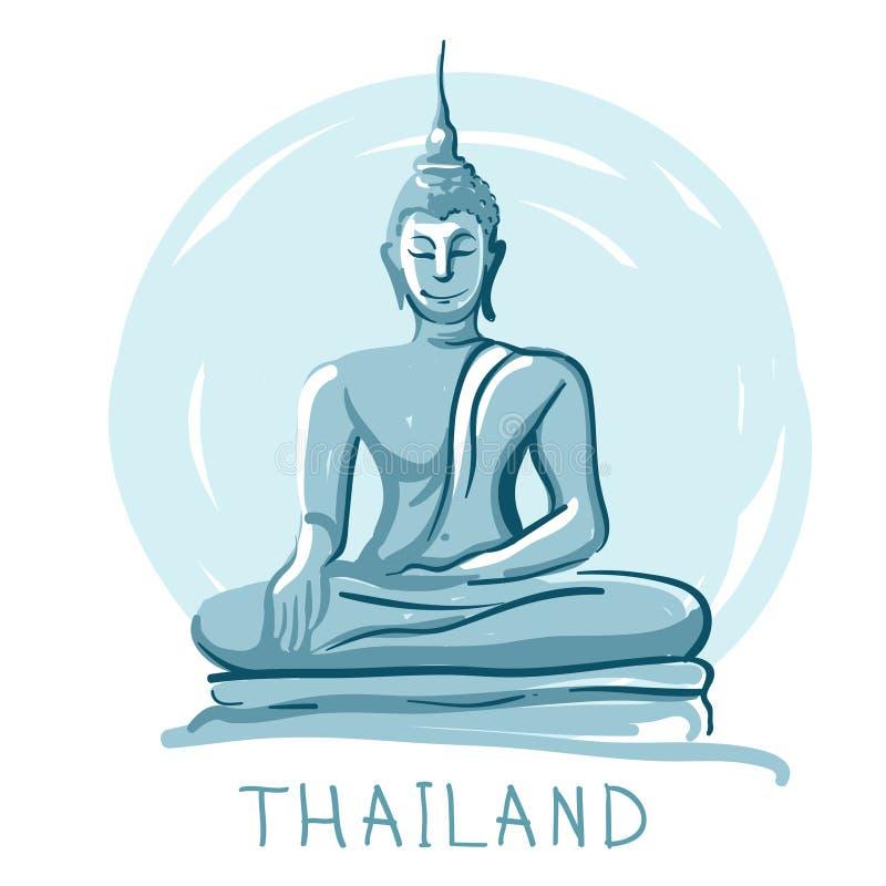 Estátua de sentar Buddha, Tailândia ilustração stock