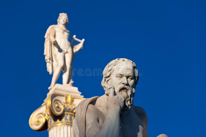 A estátua de Socrates. Atenas, Grécia. imagens de stock royalty free