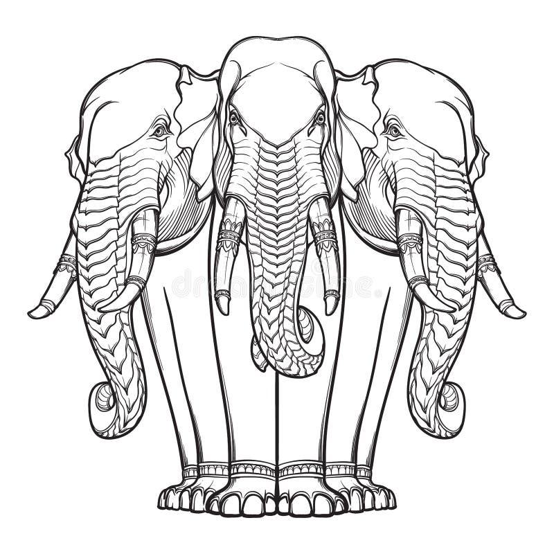 Estátua de três elefantes Motiff popular em artes e em ofícios asiáticos Desenho intrincado da mão isolado no fundo branco ilustração royalty free