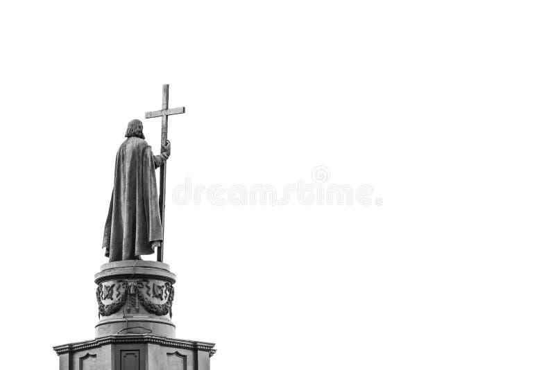 Estátua de Vladimir The Great em Kiev, Ucrânia, vista traseira no blac fotografia de stock royalty free