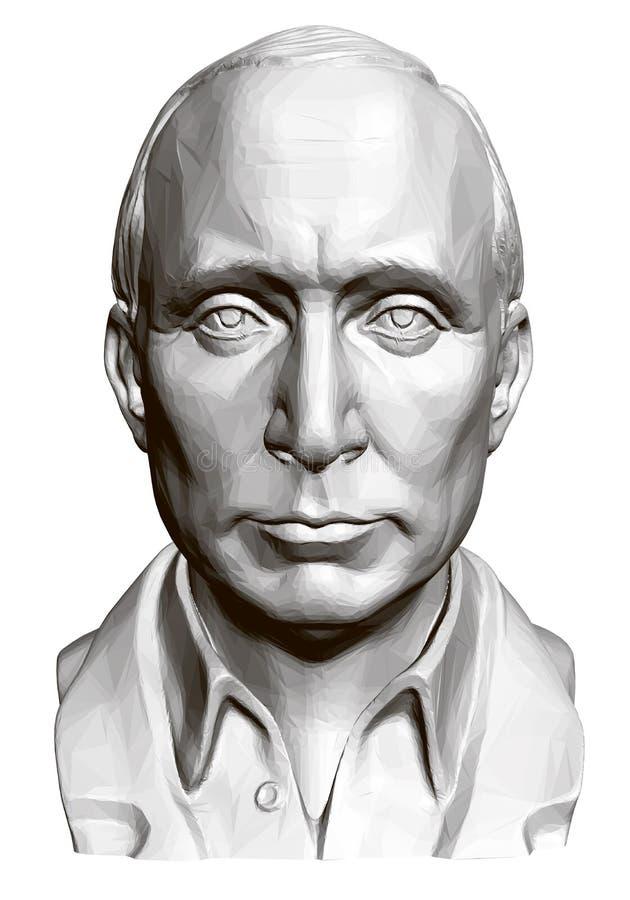 Estátua de Vladimir Vladimirovich Putin 3d Busto poligonal de Putin Ilustração do vetor ilustração stock