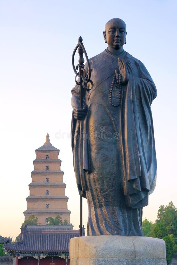 Estátua de Xuan Zang da monge fotos de stock