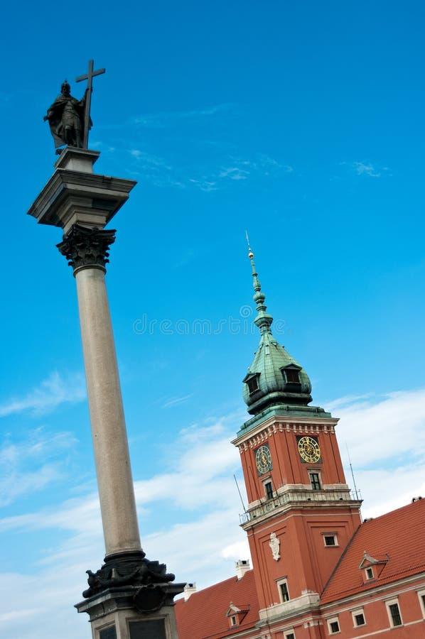 Estátua de Zigmunt & castelo real fotos de stock royalty free