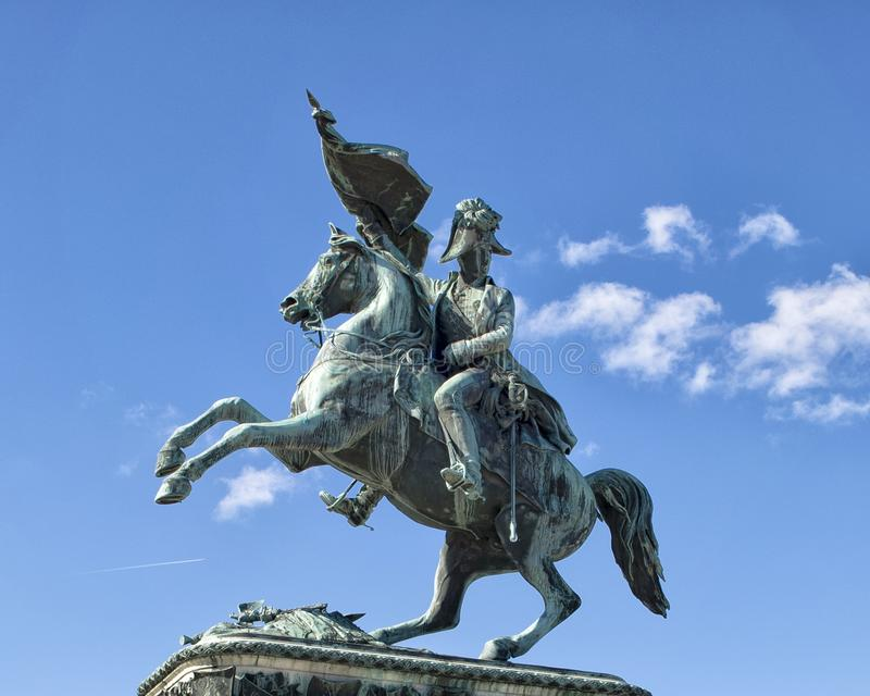 Estátua do arquiduque Charles no Heldensplatz em Viena, Áustria imagens de stock royalty free