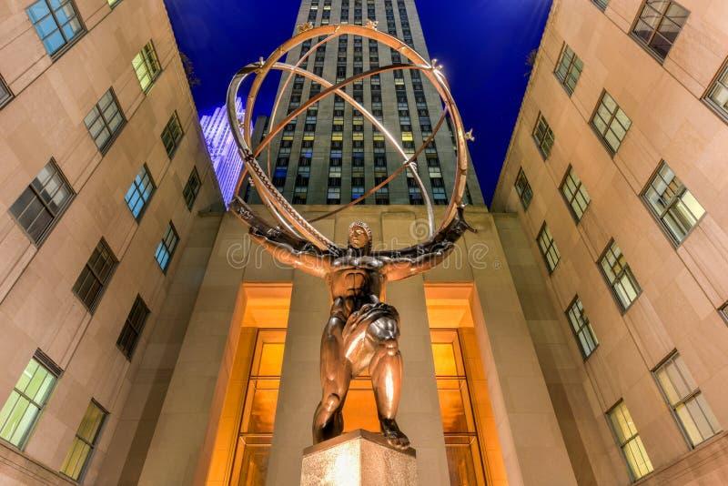 Estátua do atlas - centro de Rockefeller, New York City fotos de stock royalty free