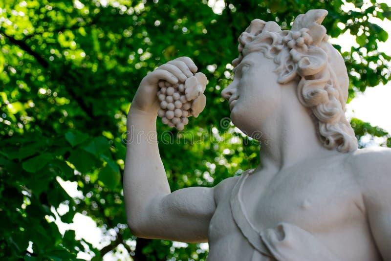 Estátua do Baco no jardim do verão imagem de stock royalty free