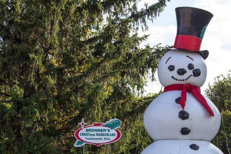 Estátua do boneco de neve em Frankenmuth Michigan fotografia de stock
