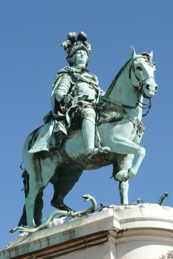 Estátua do cavaleiro de Portugal Lissabon foto de stock