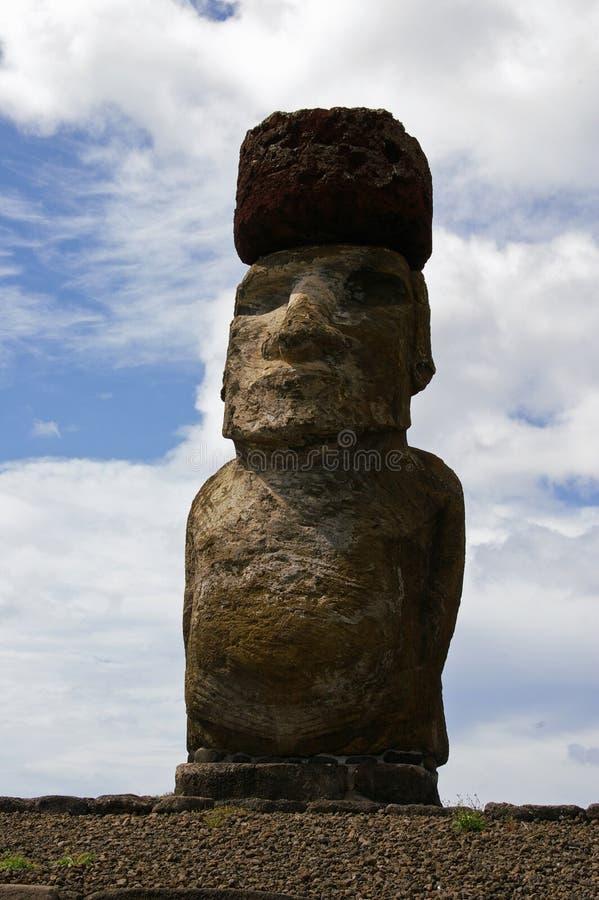 Estátua do console de Easter - Ahu Tongariki fotografia de stock