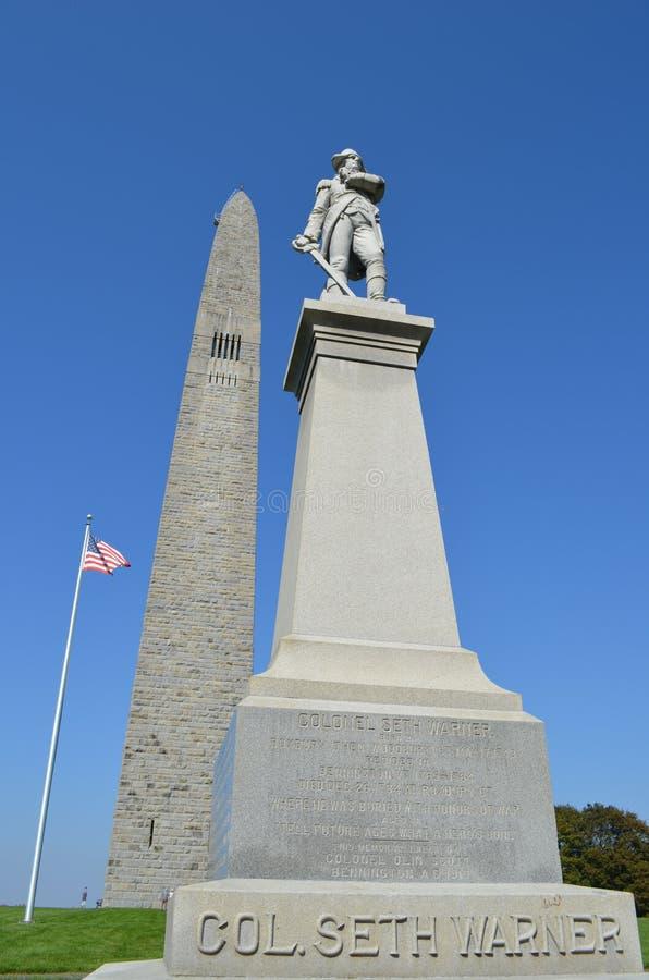 Estátua do coronel Seth Warner em Bennington Vermont imagens de stock