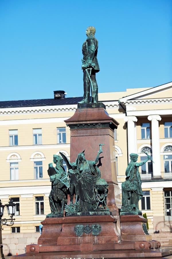 Estátua do czar Alexander do russo II, Helsínquia imagens de stock royalty free