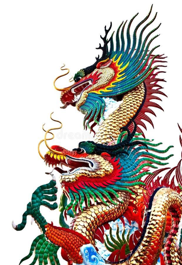 Estátua do dragão do estilo chinês, Tailândia recolhida fotografia de stock