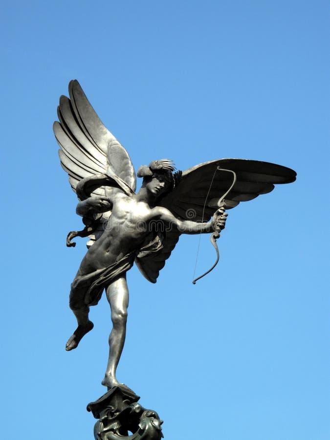 Estátua do Eros no circo Londres de Piccadilly imagem de stock