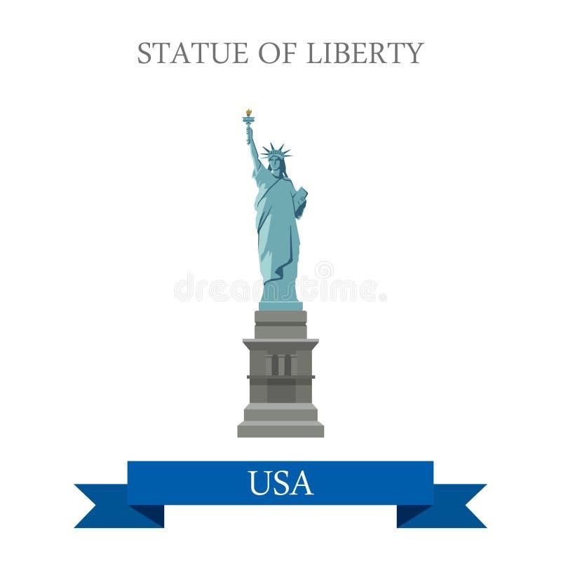 A estátua do Estados Unidos EUA de Liberty New York NY vector o plano ilustração stock