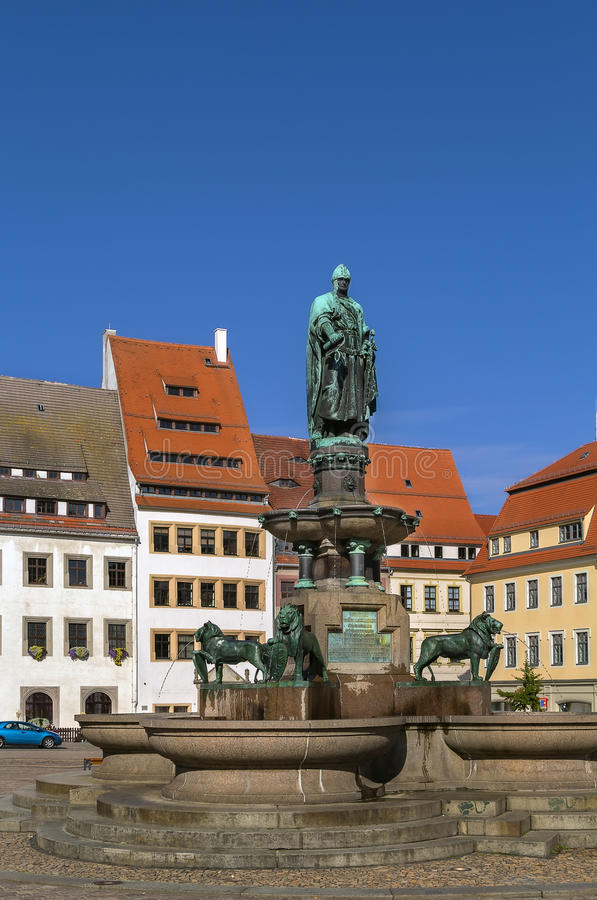 Estátua do fundador da cidade, Freiberg, Alemanha foto de stock