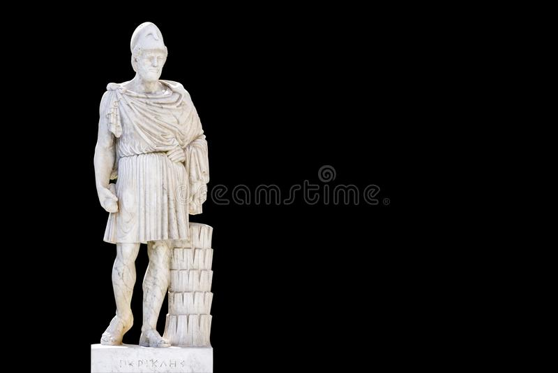 Estátua do fundo de Pericles_black do grego clássico fotos de stock royalty free