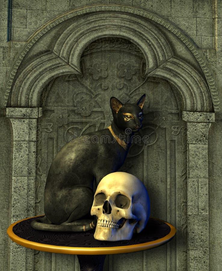 Estátua do gato egípcio com crânio ilustração royalty free