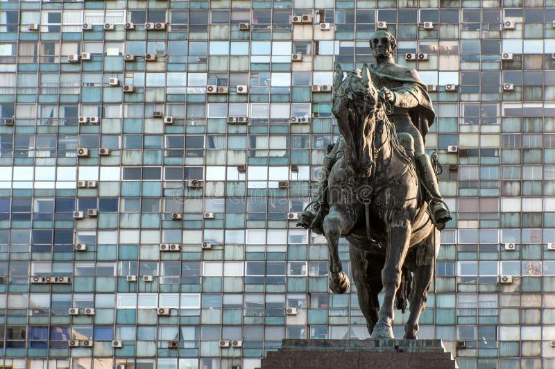 Estátua do general Artigas, Montevideo imagens de stock