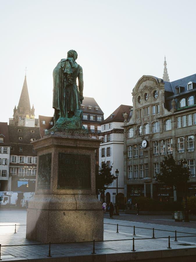 Estátua do general Kleber na manhã de Strasbourg fotografia de stock royalty free